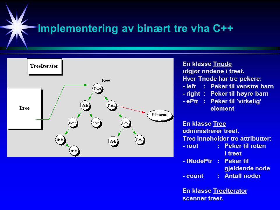Implementering av binært tre vha C++