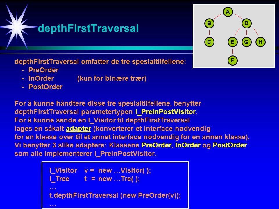 A depthFirstTraversal. B. D. C. E. G. H. depthFirstTraversal omfatter de tre spesialtilfellene: