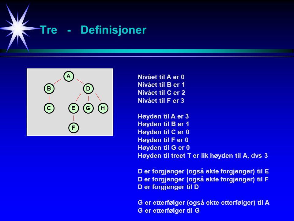 Tre - Definisjoner Nivået til A er 0 Nivået til B er 1