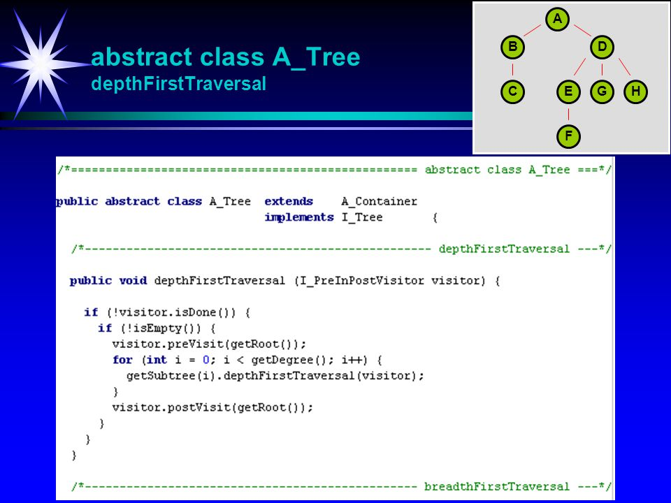abstract class A_Tree depthFirstTraversal