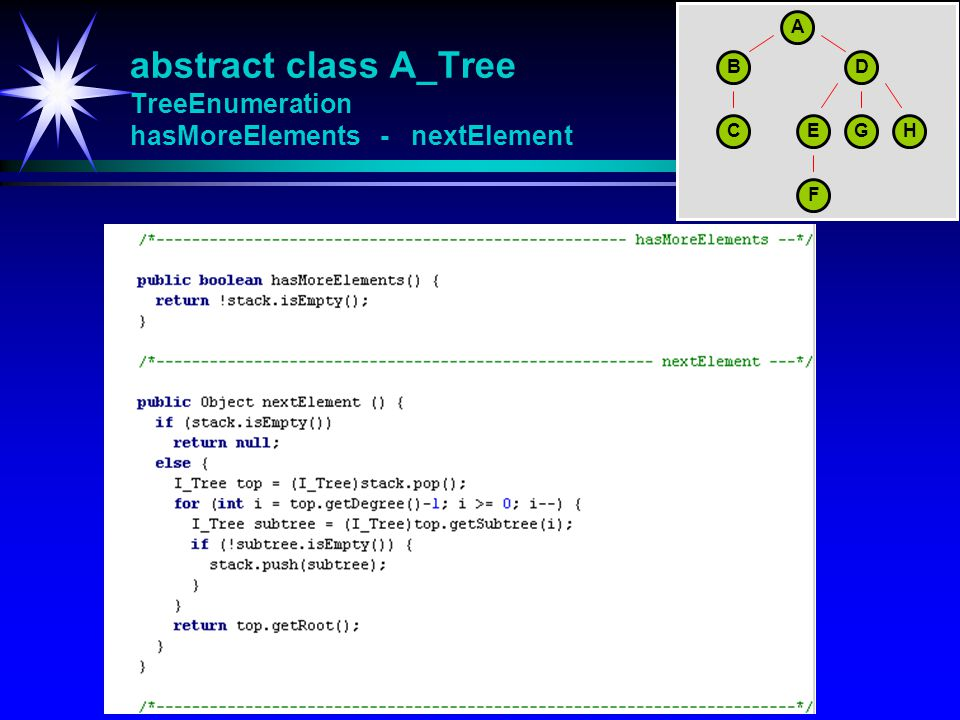 abstract class A_Tree TreeEnumeration hasMoreElements - nextElement