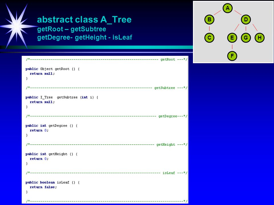 A abstract class A_Tree getRoot – getSubtree getDegree- getHeight - isLeaf. B. D. C. E. G. H.