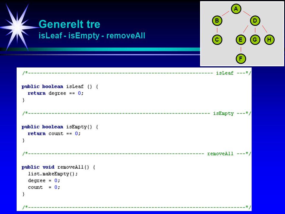 Generelt tre isLeaf - isEmpty - removeAll