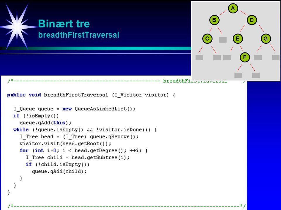 Binært tre breadthFirstTraversal