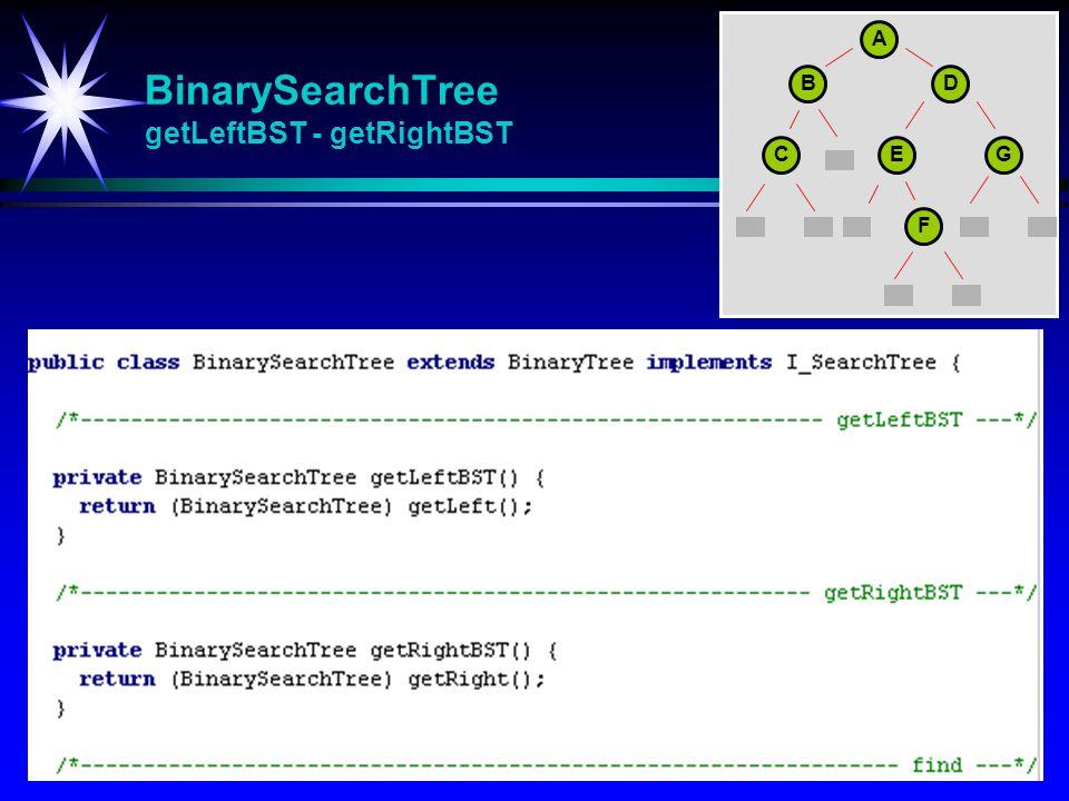 BinarySearchTree getLeftBST - getRightBST