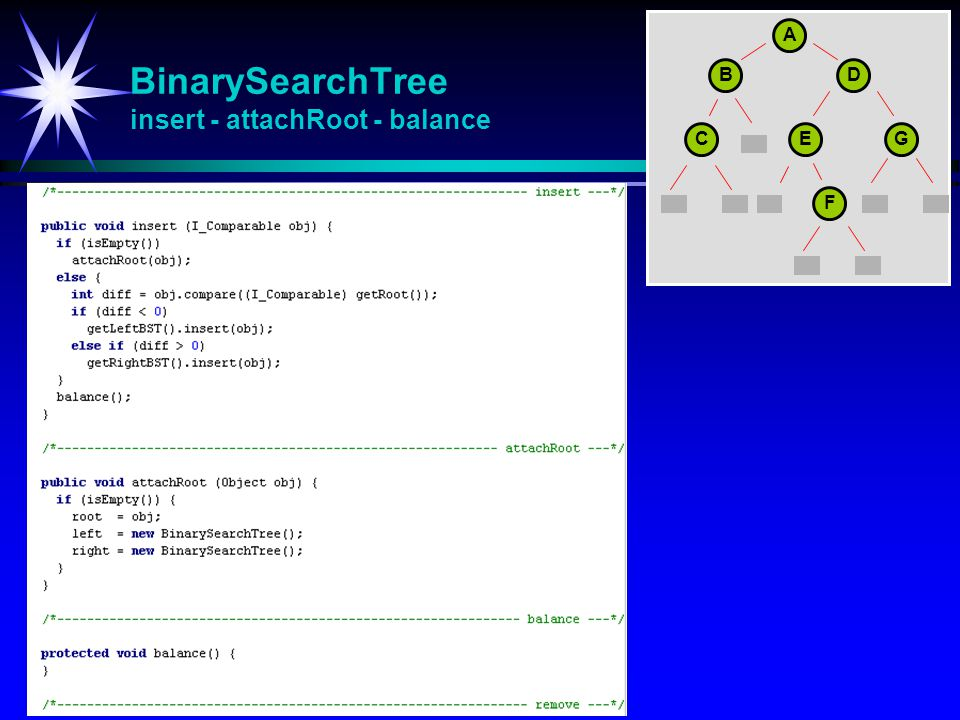 BinarySearchTree insert - attachRoot - balance