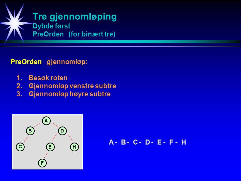 Tre gjennomløping Dybde først PreOrden (for binært tre)