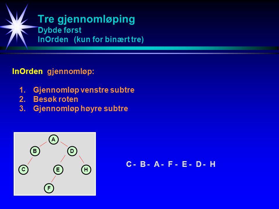 Tre gjennomløping Dybde først InOrden (kun for binært tre)