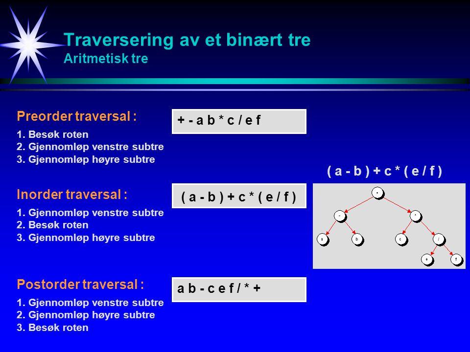 Traversering av et binært tre Aritmetisk tre