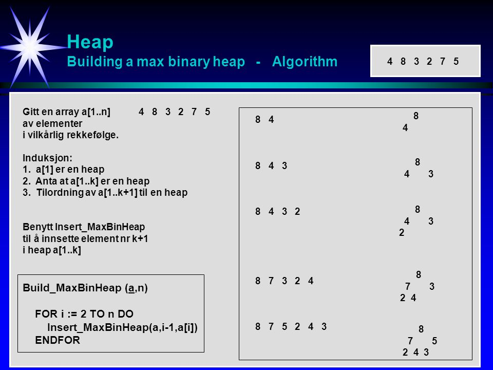 Heap Building a max binary heap - Algorithm