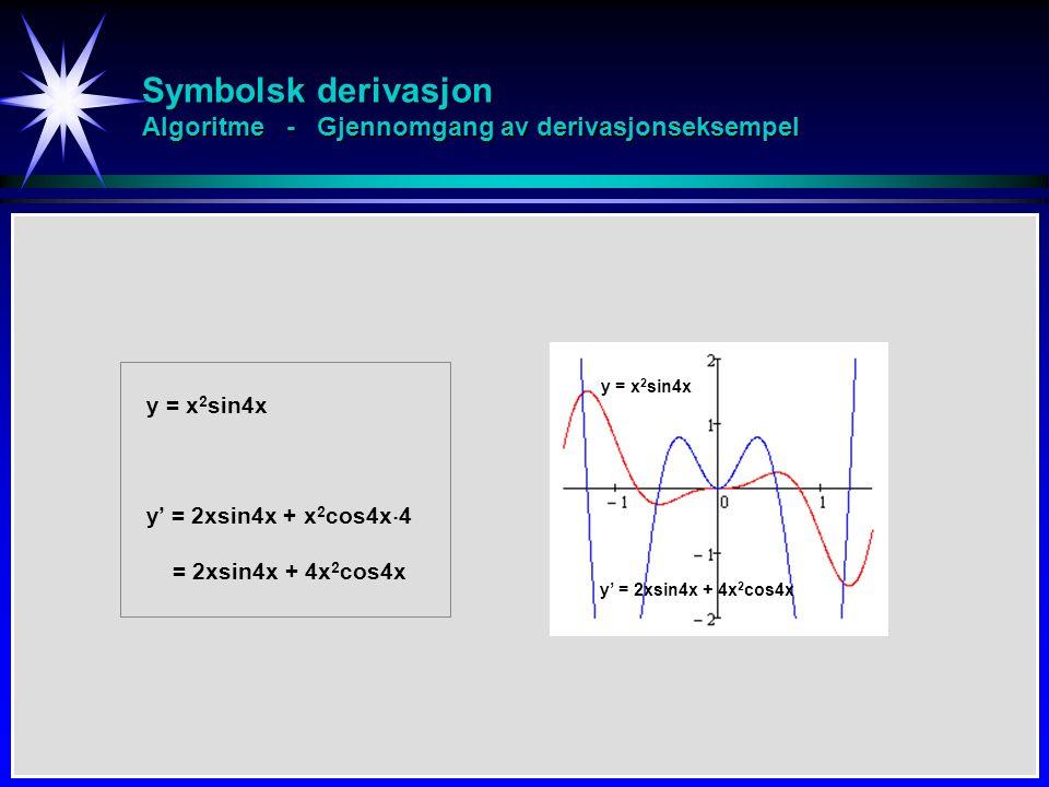 Symbolsk derivasjon Algoritme - Gjennomgang av derivasjonseksempel