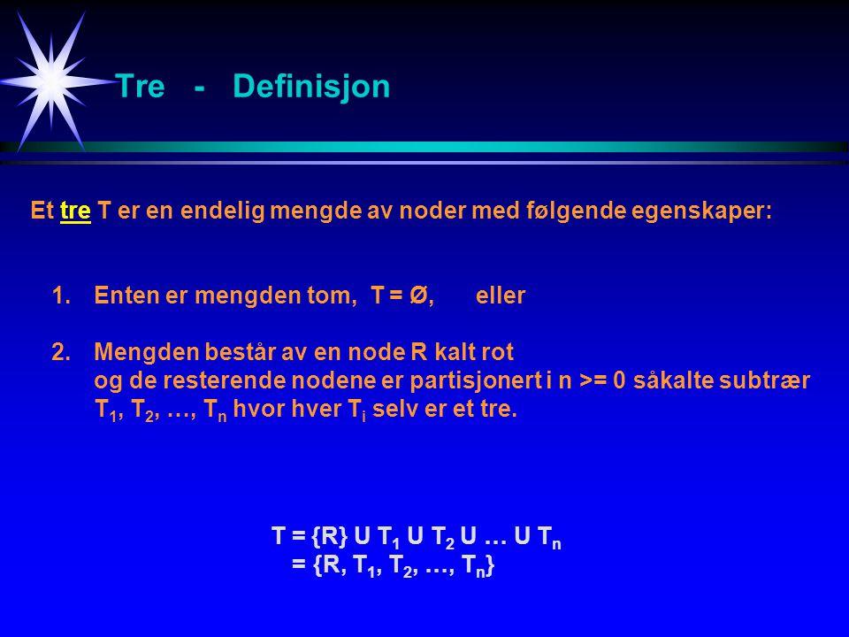 Tre - Definisjon Et tre T er en endelig mengde av noder med følgende egenskaper: 1. Enten er mengden tom, T = Ø, eller.