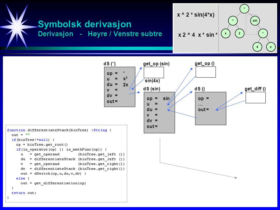 Symbolsk derivasjon Derivasjon - Høyre / Venstre subtre