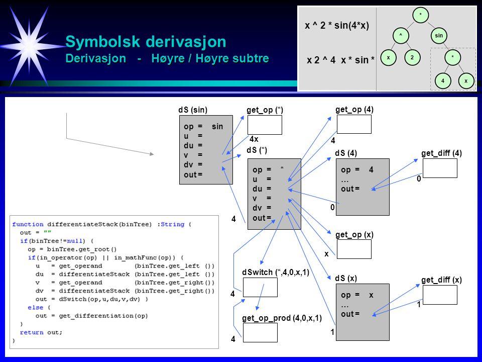 Symbolsk derivasjon Derivasjon - Høyre / Høyre subtre