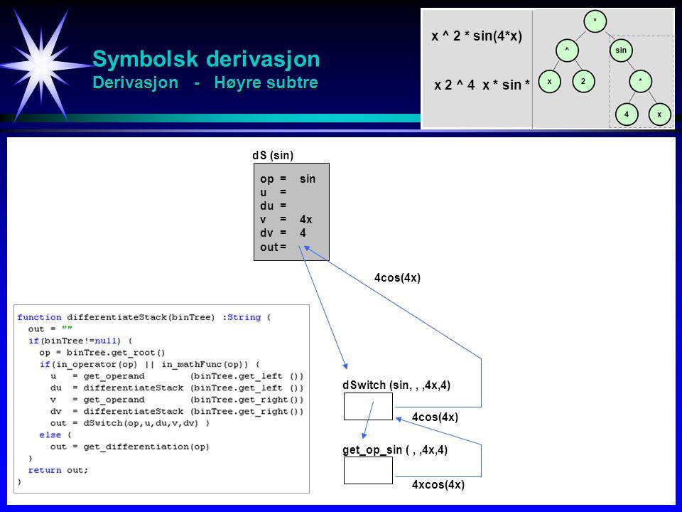 Symbolsk derivasjon Derivasjon - Høyre subtre