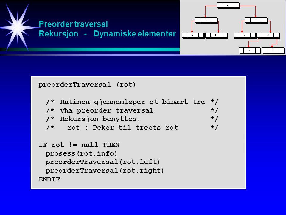 Preorder traversal Rekursjon - Dynamiske elementer