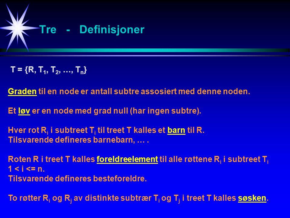 Tre - Definisjoner T = {R, T1, T2, …, Tn}