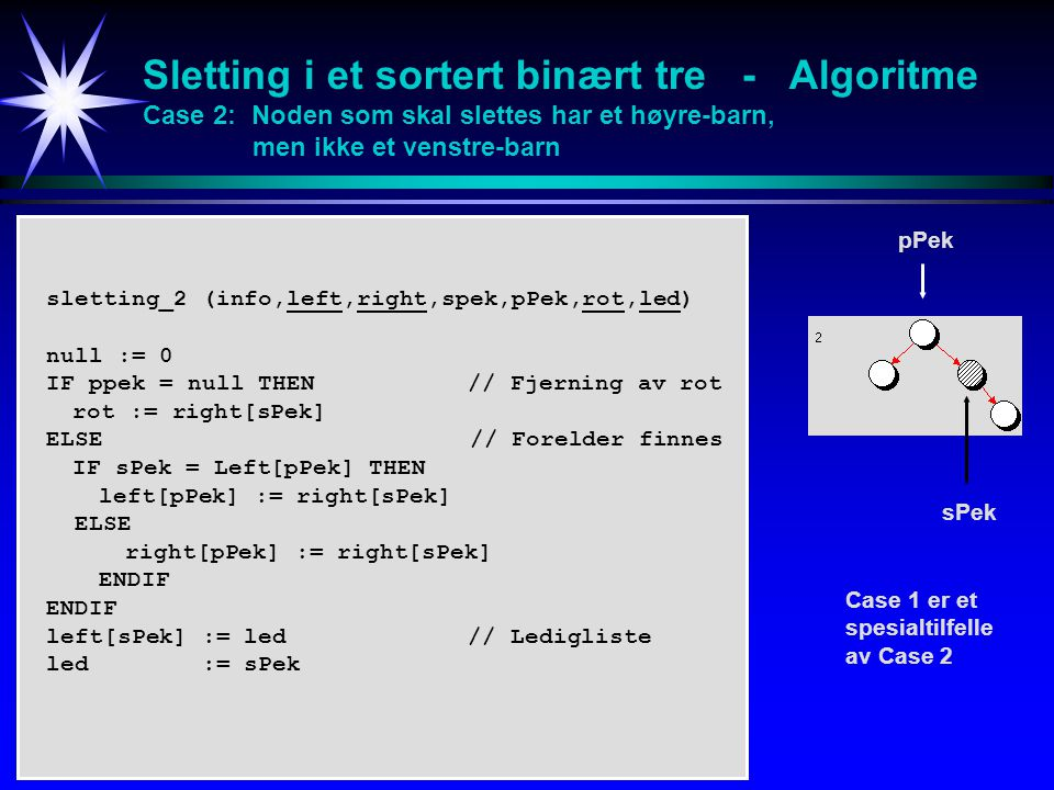 Sletting i et sortert binært tre - Algoritme Case 2: Noden som skal slettes har et høyre-barn, men ikke et venstre-barn