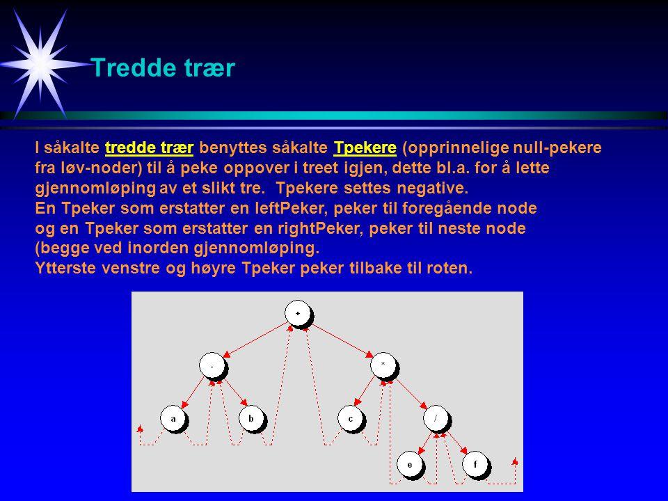 Tredde trær I såkalte tredde trær benyttes såkalte Tpekere (opprinnelige null-pekere.