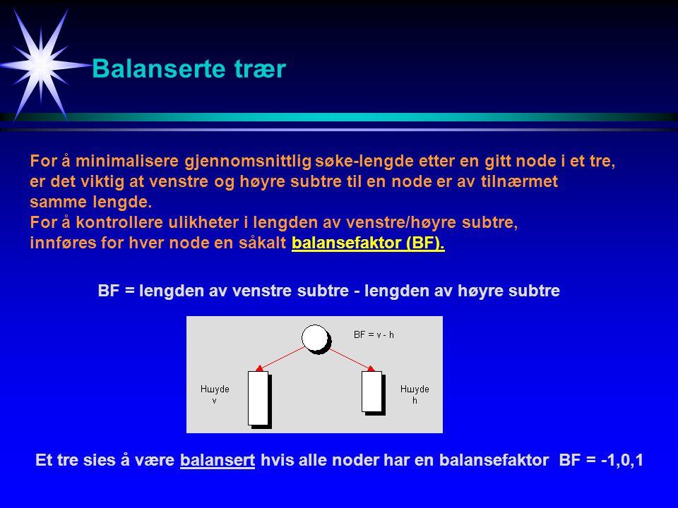 Balanserte trær For å minimalisere gjennomsnittlig søke-lengde etter en gitt node i et tre,