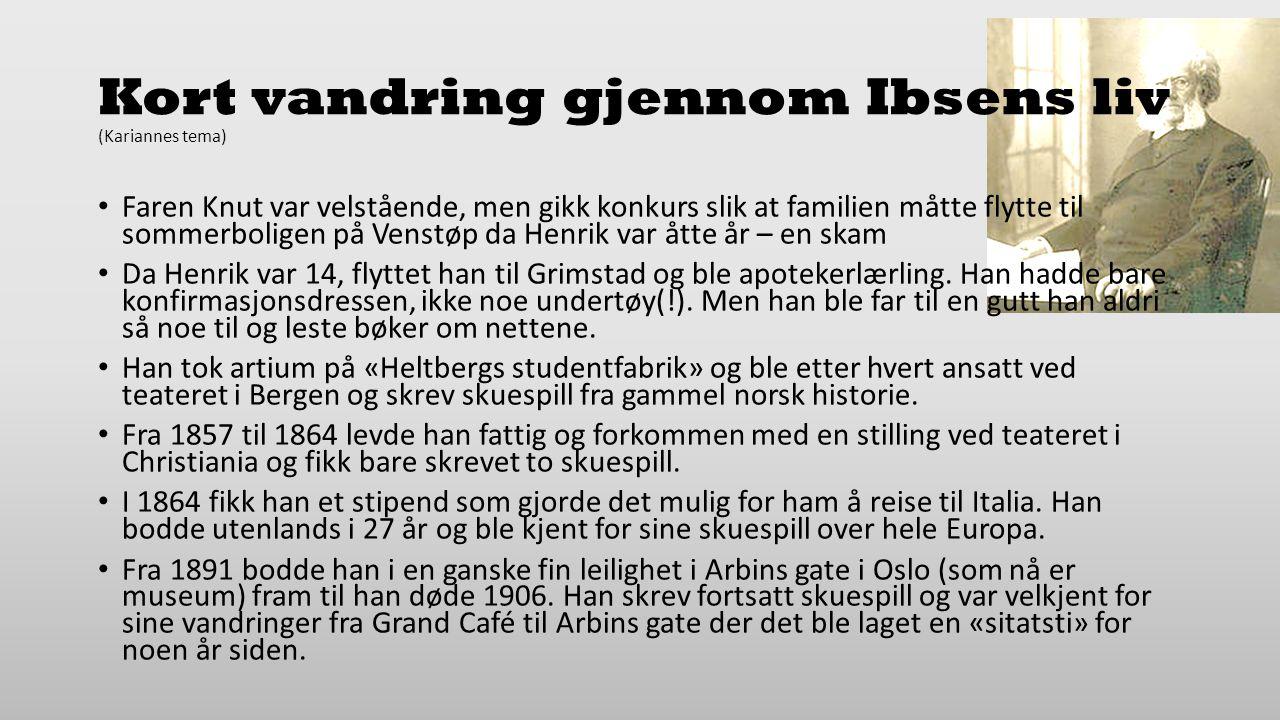 Kort vandring gjennom Ibsens liv (Kariannes tema)