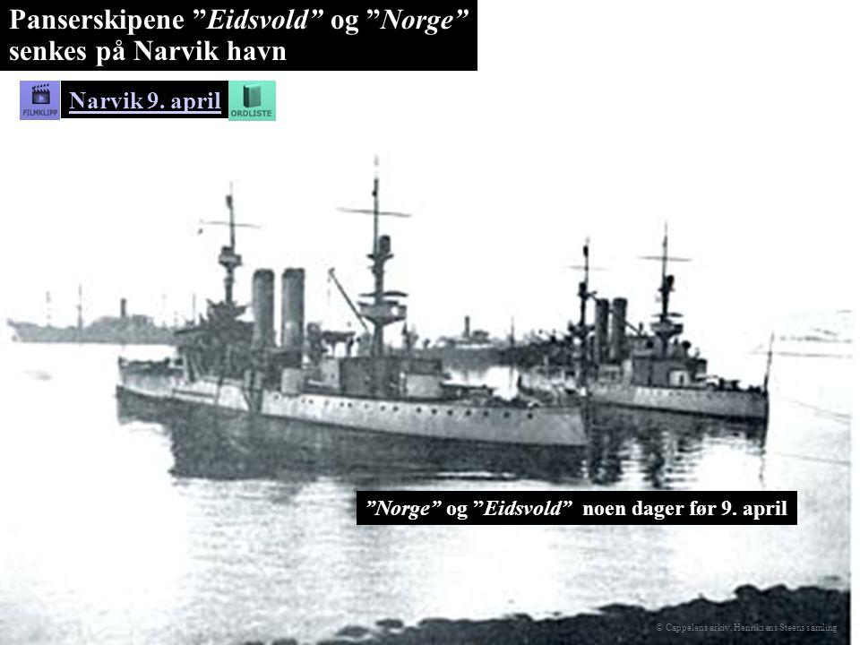 Panserskipene Eidsvold og Norge senkes på Narvik havn