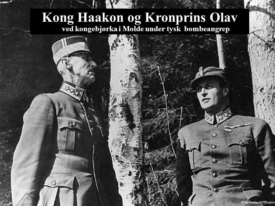 Kong Haakon og Kronprins Olav ved kongebjørka i Molde under tysk bombeangrep