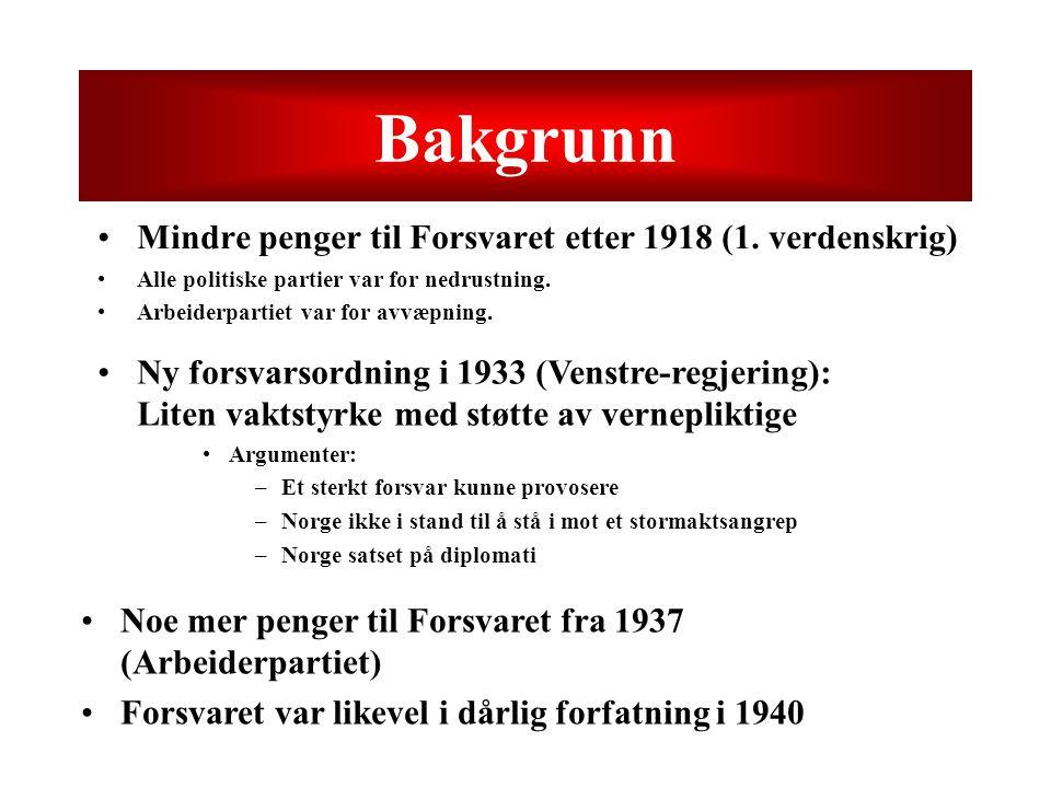 Bakgrunn Mindre penger til Forsvaret etter 1918 (1. verdenskrig)