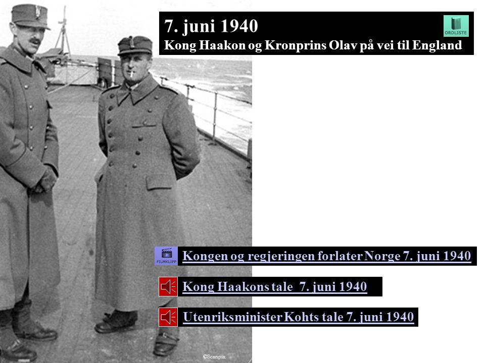 7. juni 1940 Kong Haakon og Kronprins Olav på vei til England