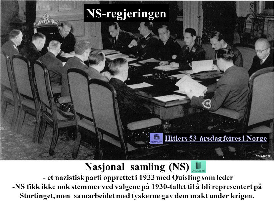 NS-regjeringen Bilde: Scanpix. Hitlers 53-årsdag feires i Norge. © Scanpix.