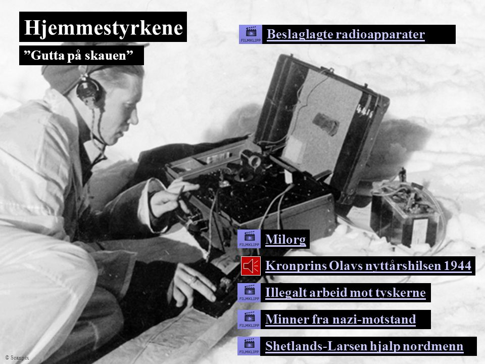 Hjemmestyrkene Beslaglagte radioapparater Gutta på skauen Milorg