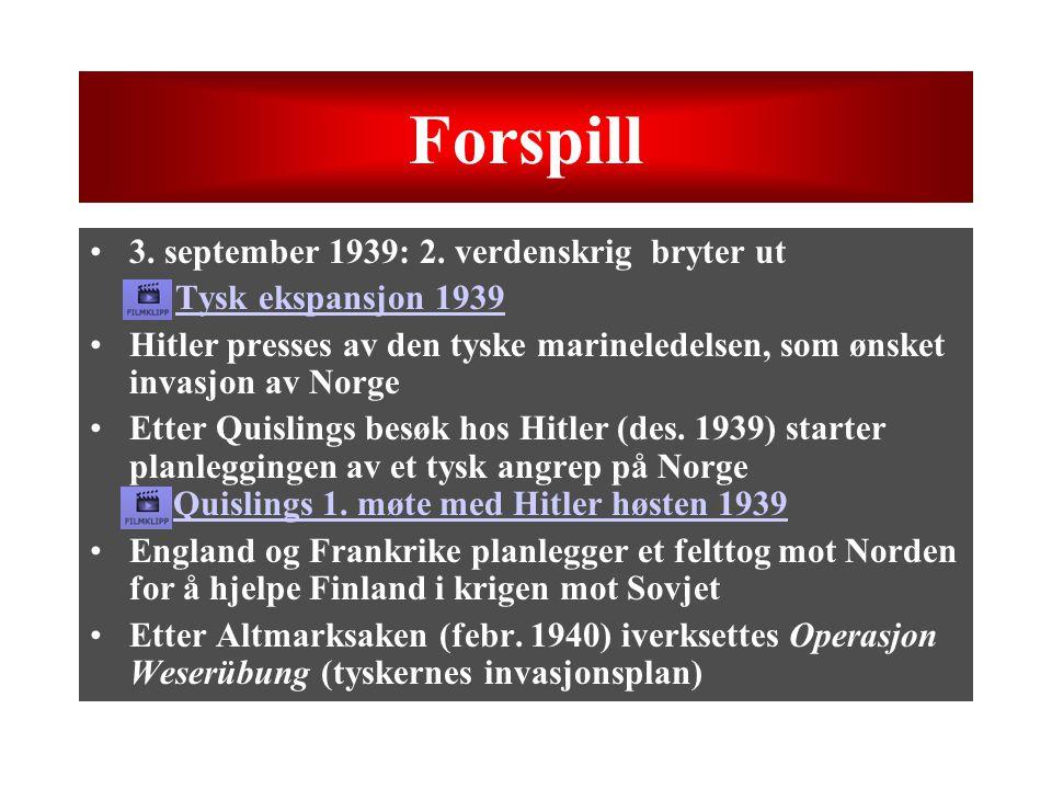 Forspill 3. september 1939: 2. verdenskrig bryter ut