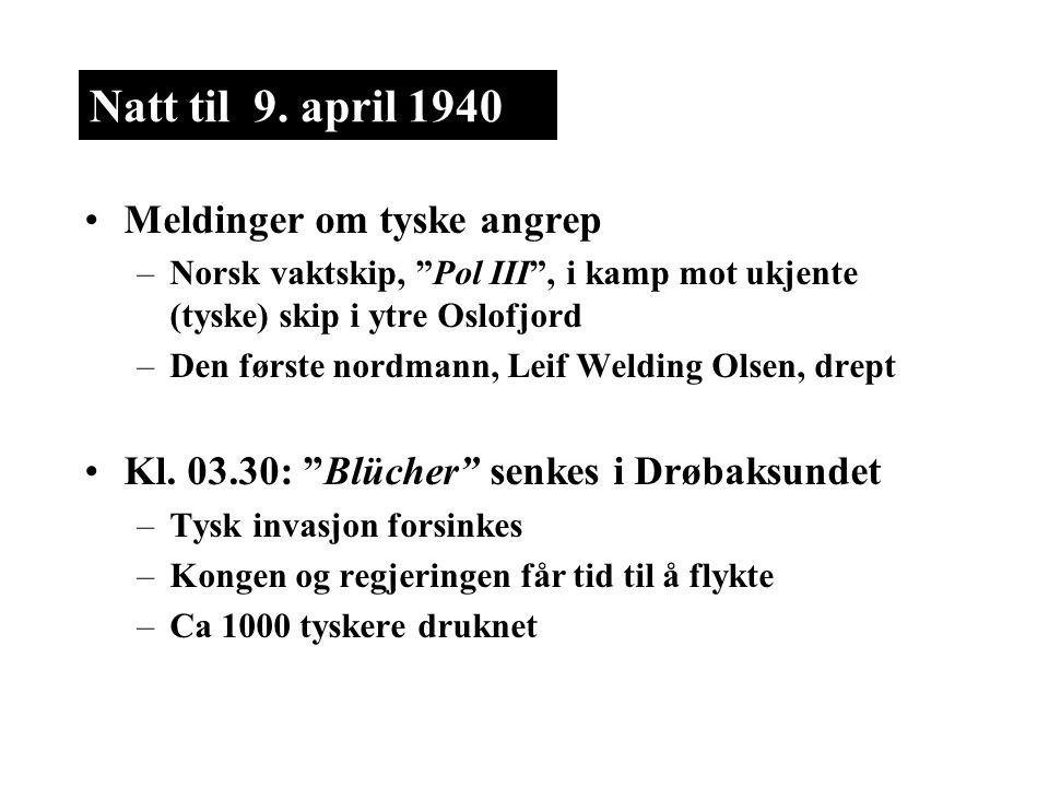 Natt til 9. april 1940 Meldinger om tyske angrep