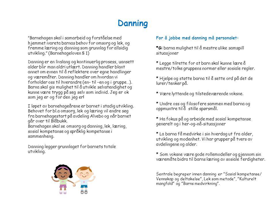 Danning For å jobbe med danning må personalet: