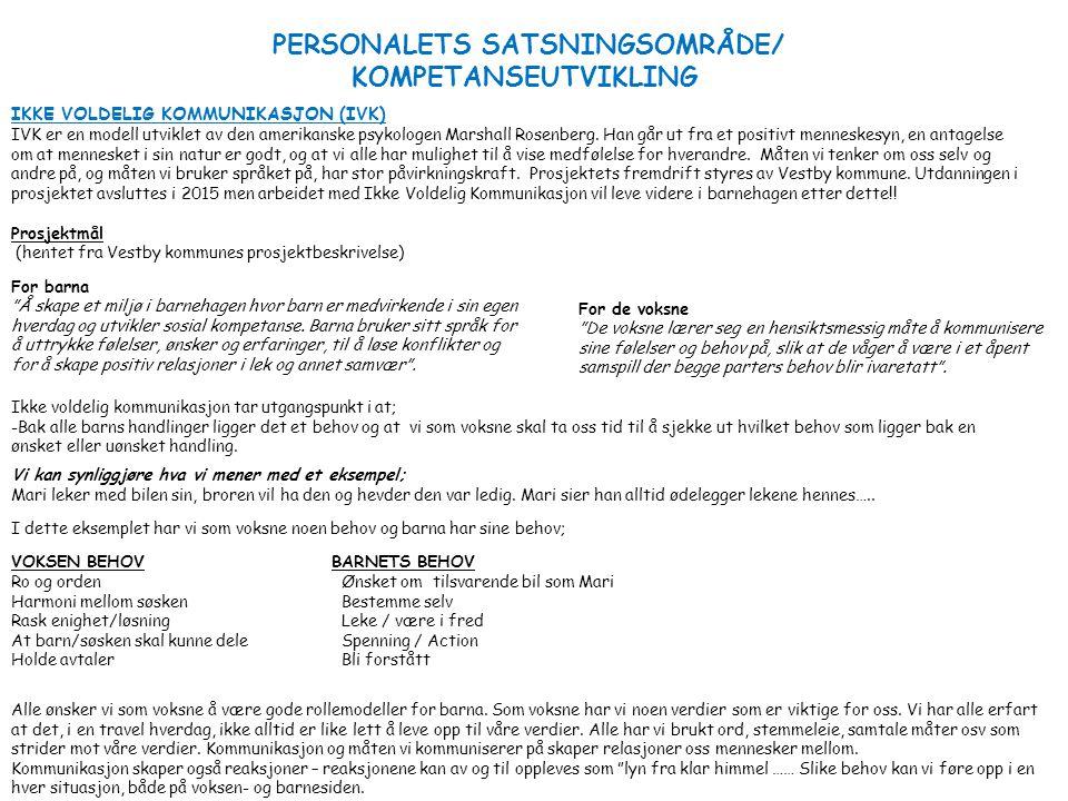 PERSONALETS SATSNINGSOMRÅDE/