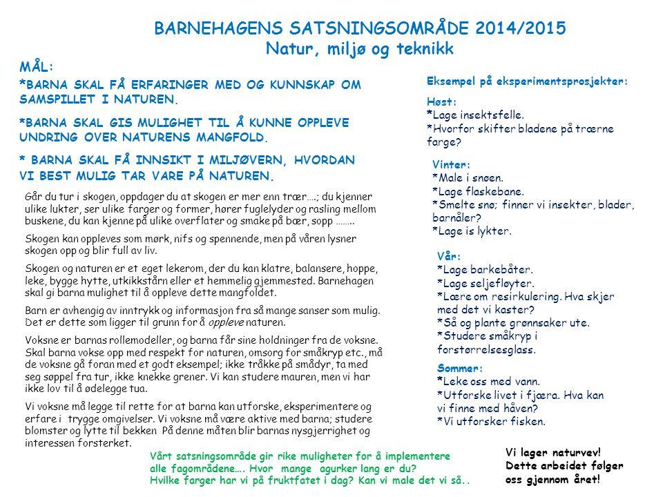 BARNEHAGENS SATSNINGSOMRÅDE 2014/2015