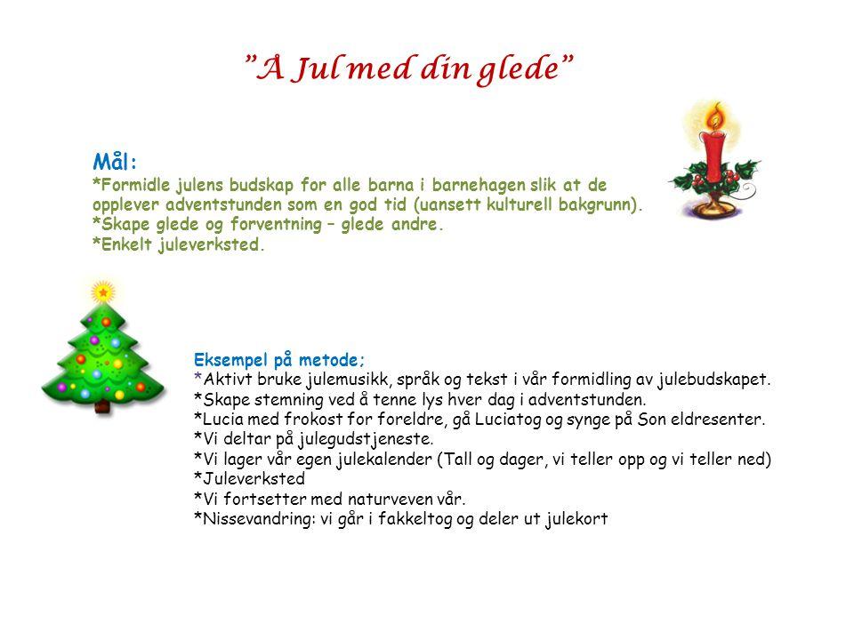 Å Jul med din glede Mål: