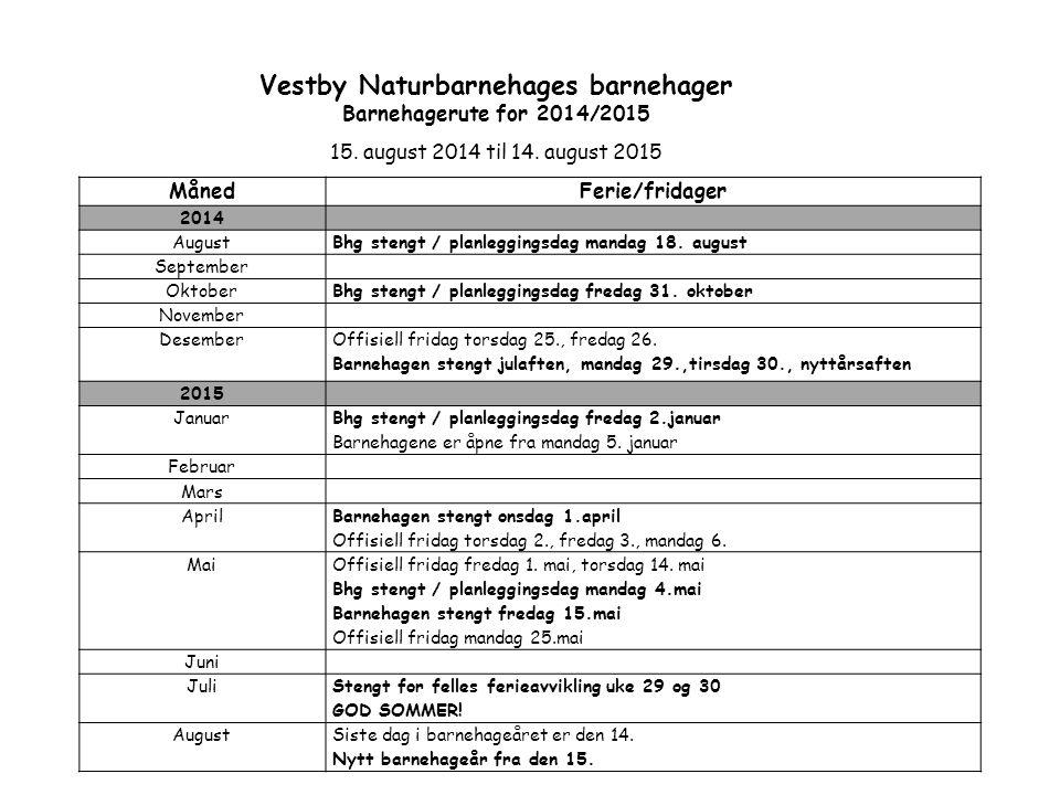 Vestby Naturbarnehages barnehager