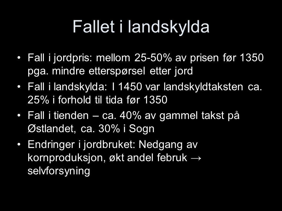Fallet i landskylda Fall i jordpris: mellom 25-50% av prisen før 1350 pga. mindre etterspørsel etter jord.
