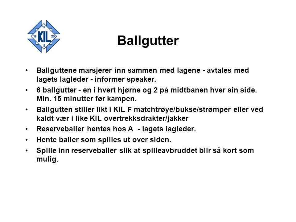 Ballgutter Ballguttene marsjerer inn sammen med lagene - avtales med lagets lagleder - informer speaker.