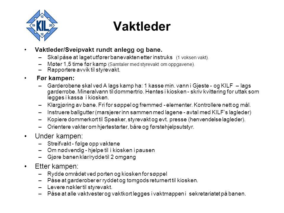 Vaktleder Under kampen: Etter kampen: