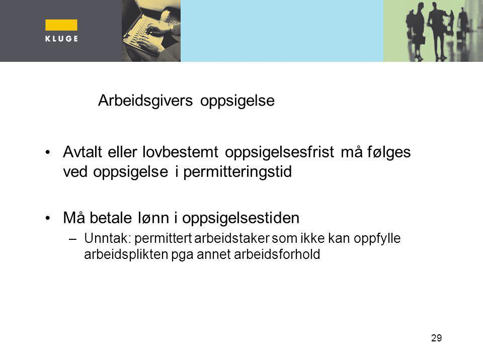 Arbeidsgivers oppsigelse