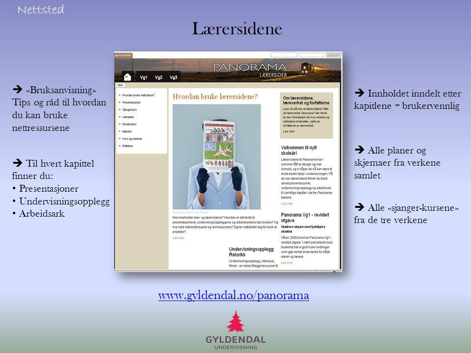 Lærersidene Nettsted www.gyldendal.no/panorama  «Bruksanvisning»