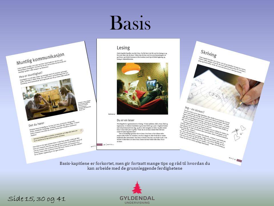 Basis Basis-kapitlene er forkortet, men gir fortsatt mange tips og råd til hvordan du kan arbeide med de grunnleggende ferdighetene.