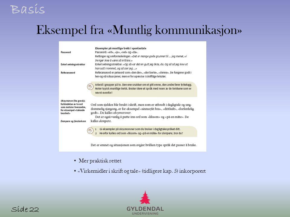 Eksempel fra «Muntlig kommunikasjon»