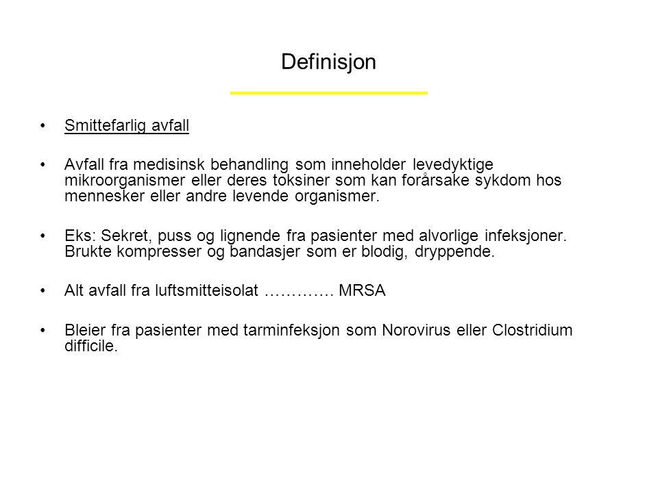 Definisjon Smittefarlig avfall