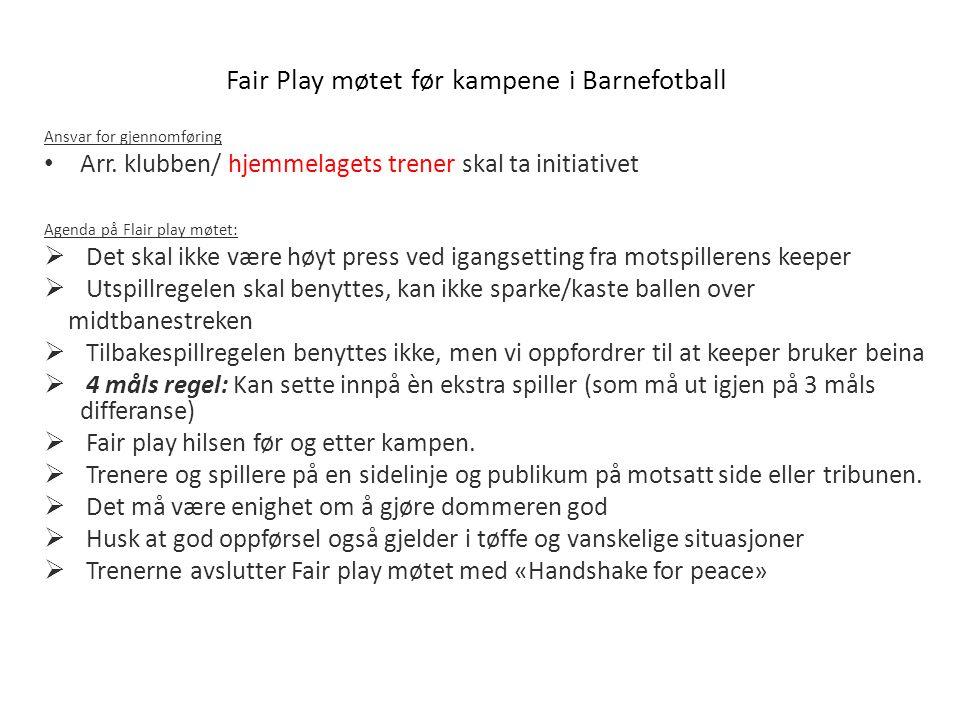 Fair Play møtet før kampene i Barnefotball