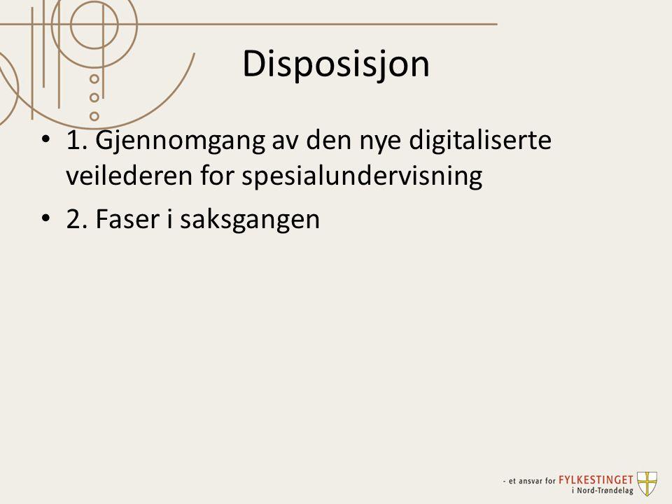 Disposisjon 1. Gjennomgang av den nye digitaliserte veilederen for spesialundervisning.