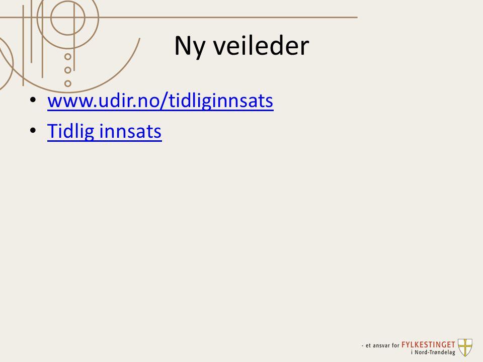 Ny veileder www.udir.no/tidliginnsats Tidlig innsats