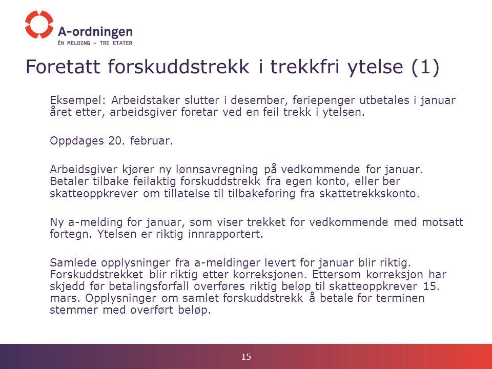 Foretatt forskuddstrekk i trekkfri ytelse (1)